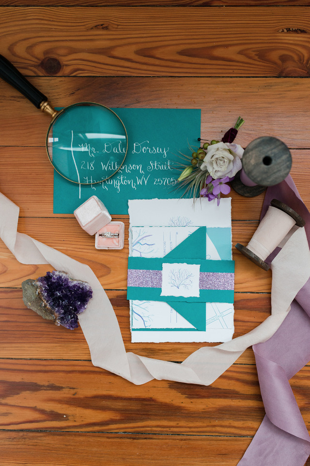 teal and lavender wedding invitations