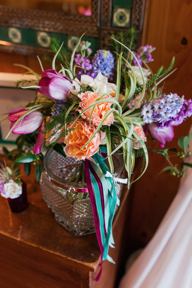 bright purple and peach organic style bouquet
