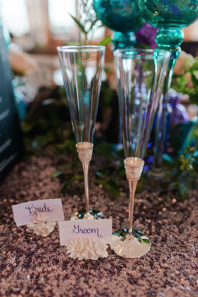 beaching champagne flutes