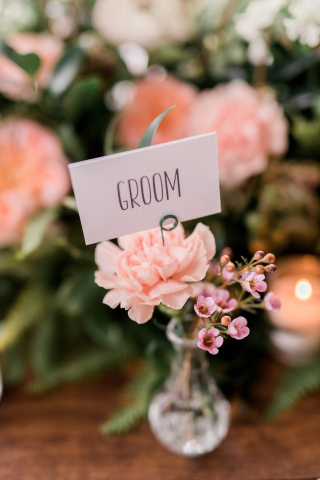 Mini vase place card holder