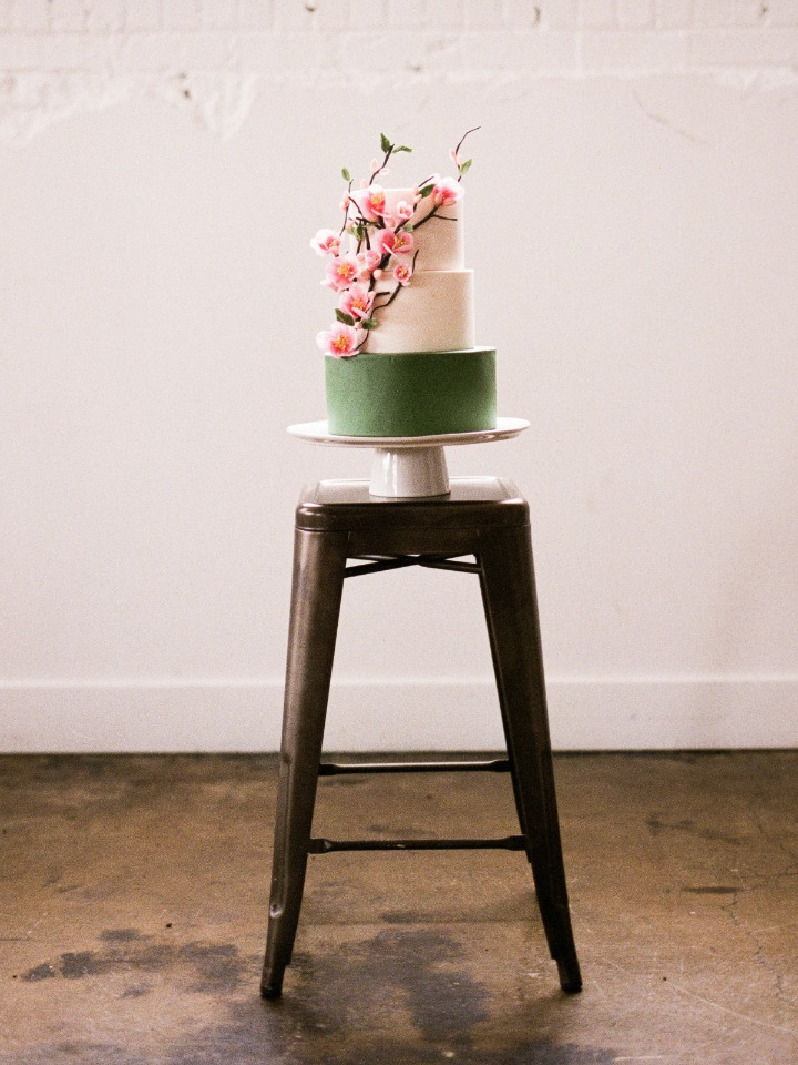 Green white and pink cake