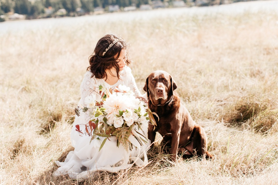Bride and pup
