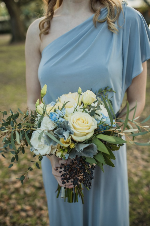 blue bridesmaid dress with sweeping one shoulder
