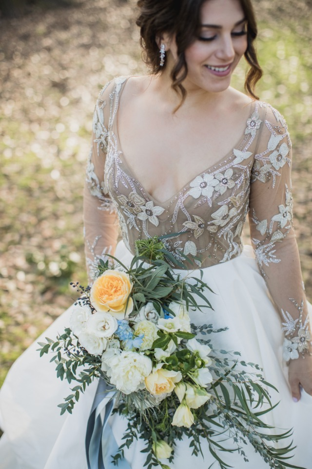 elegant and sheer Hayley Paige wedding gown