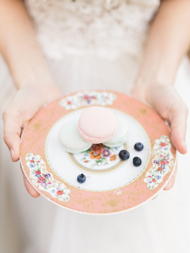 Yummy macarons on vintage inspired plate