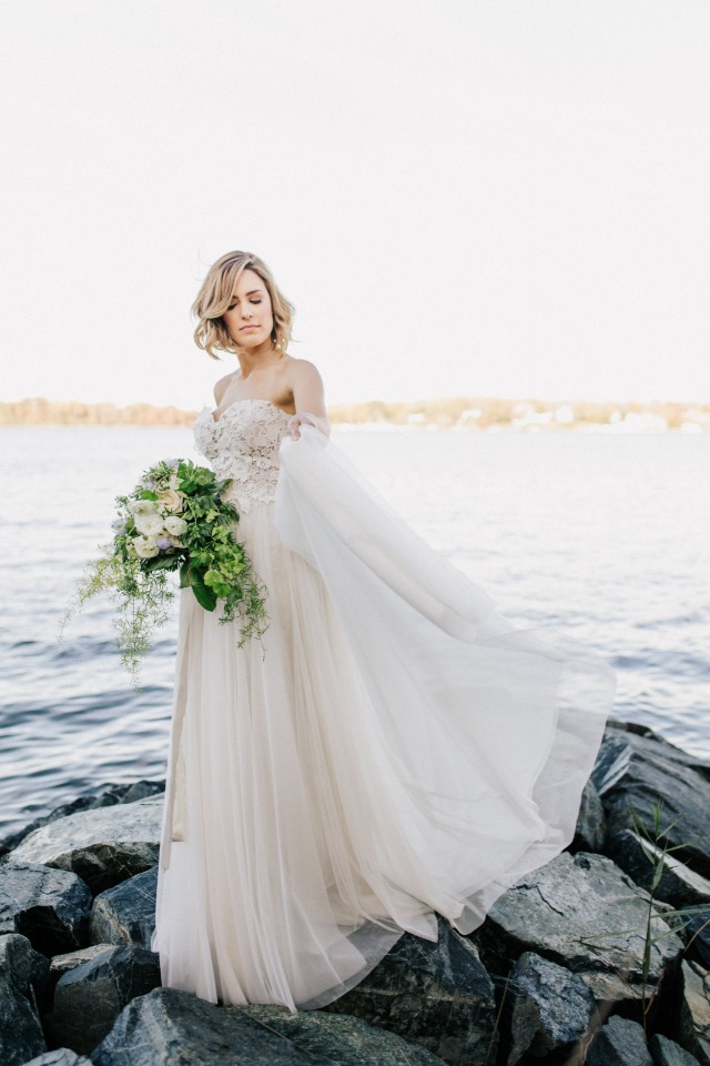 Beachy bridal look in a blush wedding gown