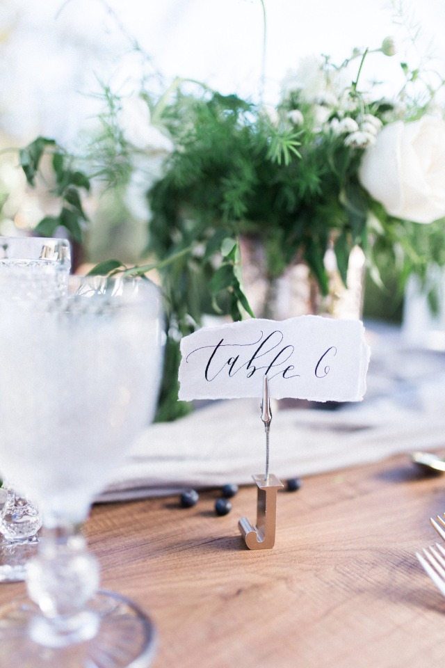 Calligraphy table number idea
