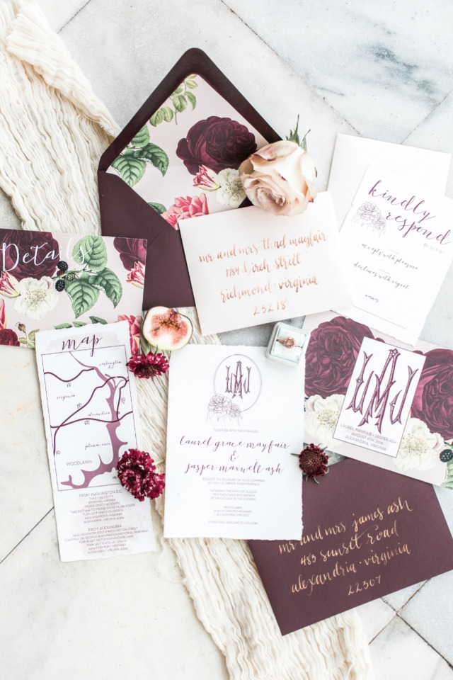 Gorgeous eggplant invitation suite with botanical florals