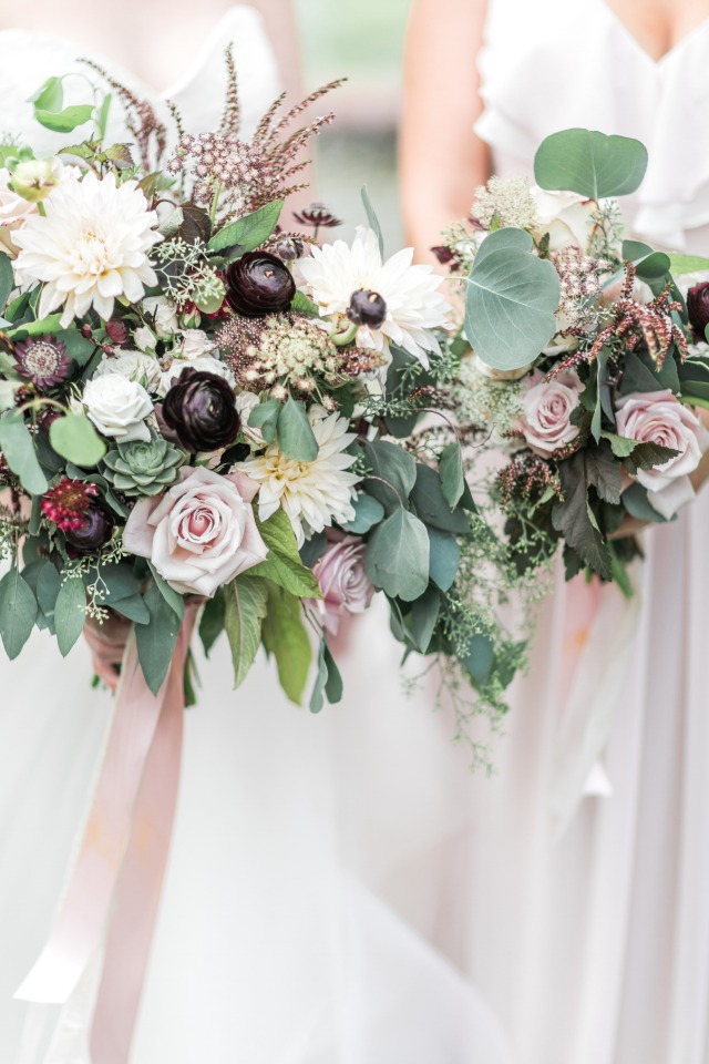 Dreamy overflowing bridal bouquets