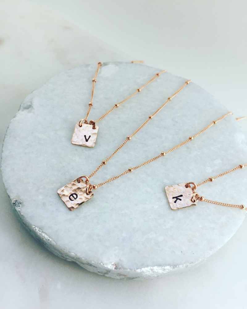 Personalized Rose Gold Initial Tag necklaces make the perfect bridal party gifts!