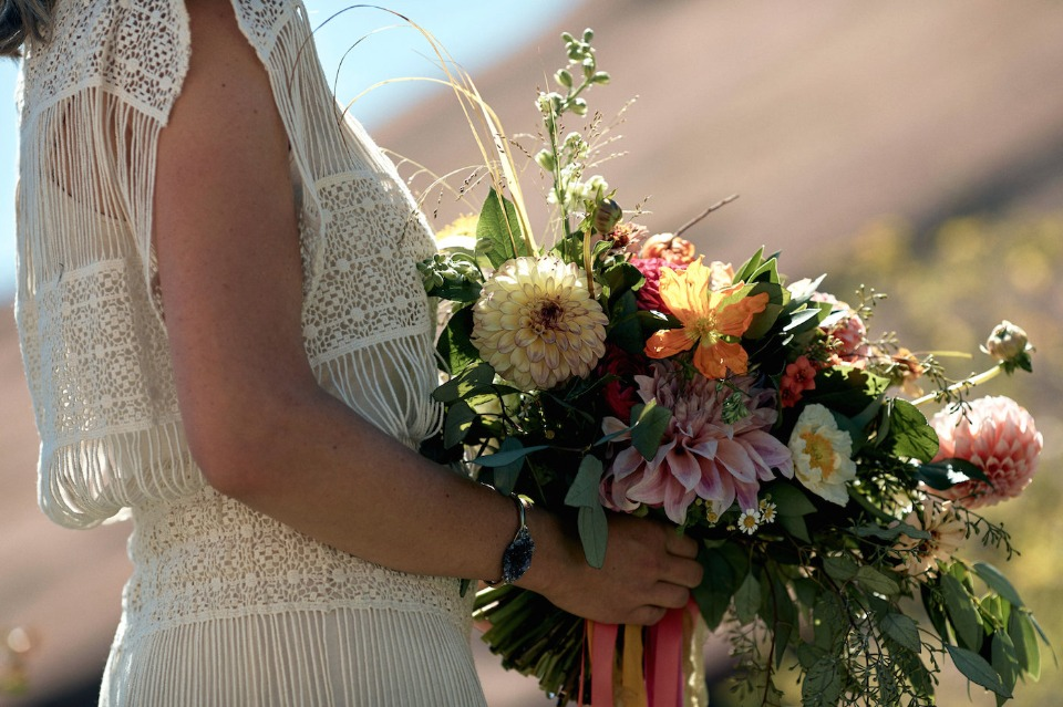 boho chic bridesmaid style and bouquet