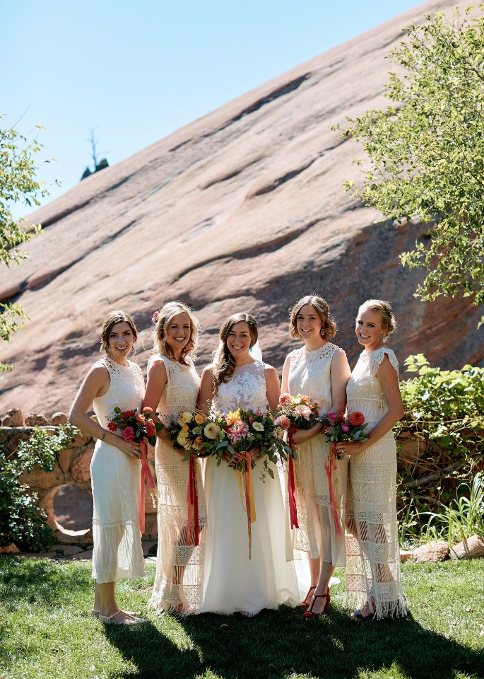 bride and her boho chic bridesmaids