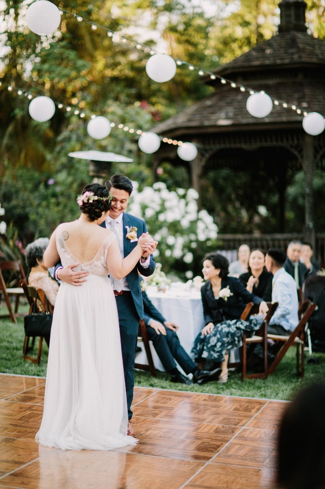 Adorable first dance under the hanging lanterns