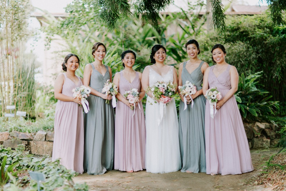 Mix and match colors with your bridesmaid dresses