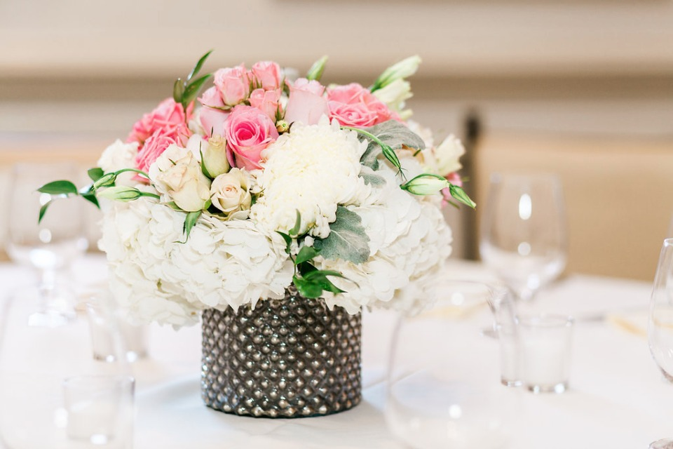 classic pink and white floral centerpiece