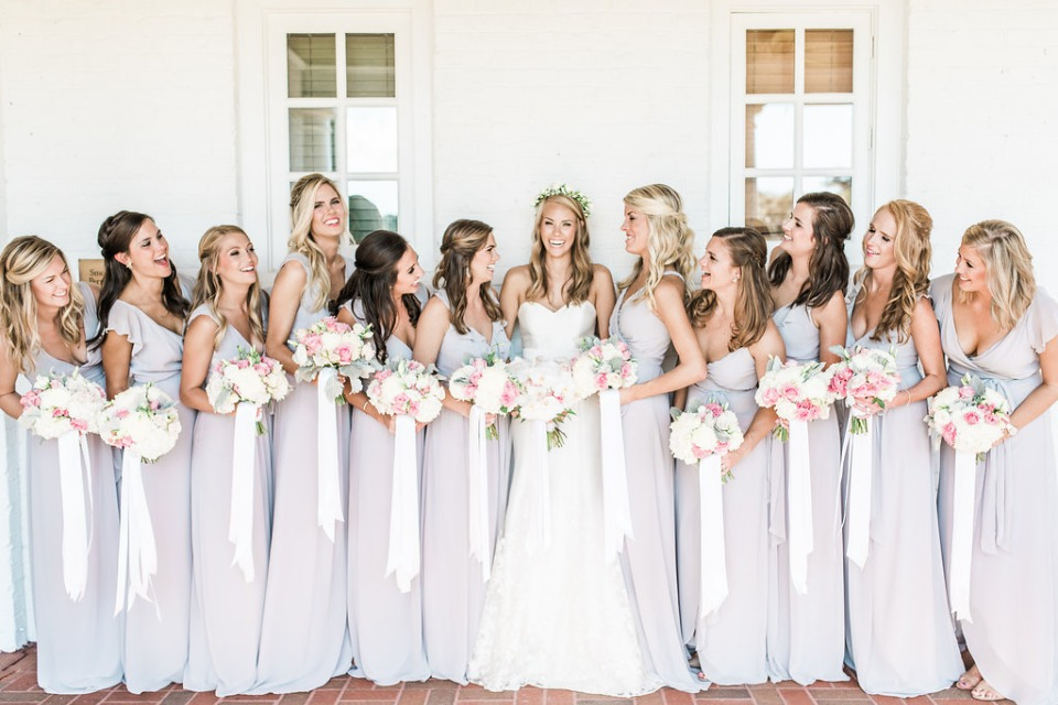 bridesmaids in soft grey Joanna August dresses