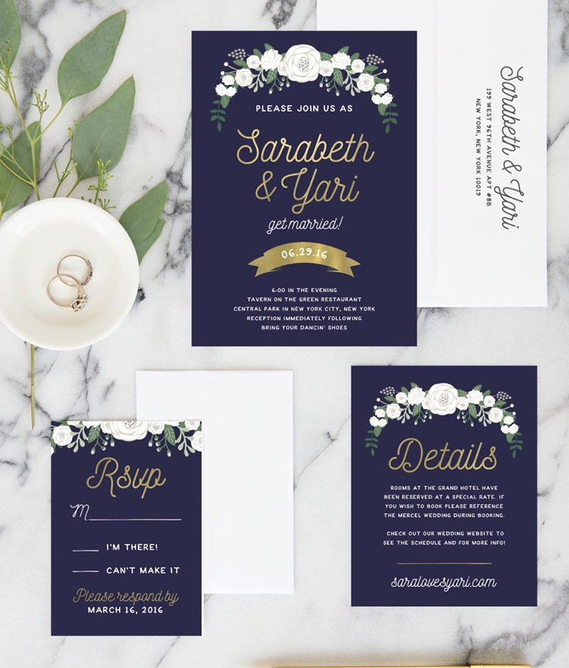 Miss Design Berry's Navy and Gold Wedding Invitations feature florals combined with gold script to give an elegant yet modern feel