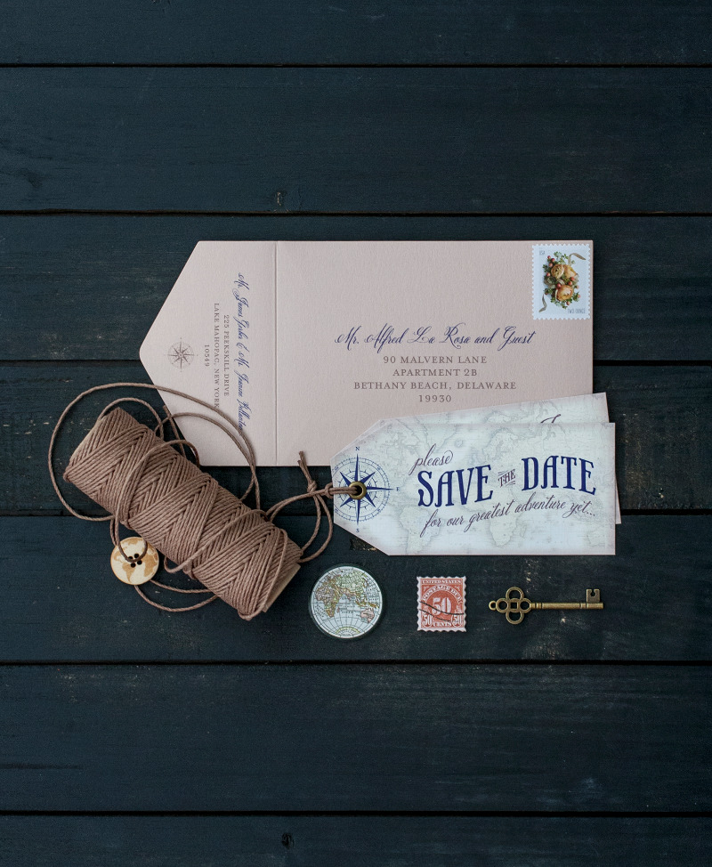 Custom, handmade Save the Date luggage tag with grommet + hemp cord