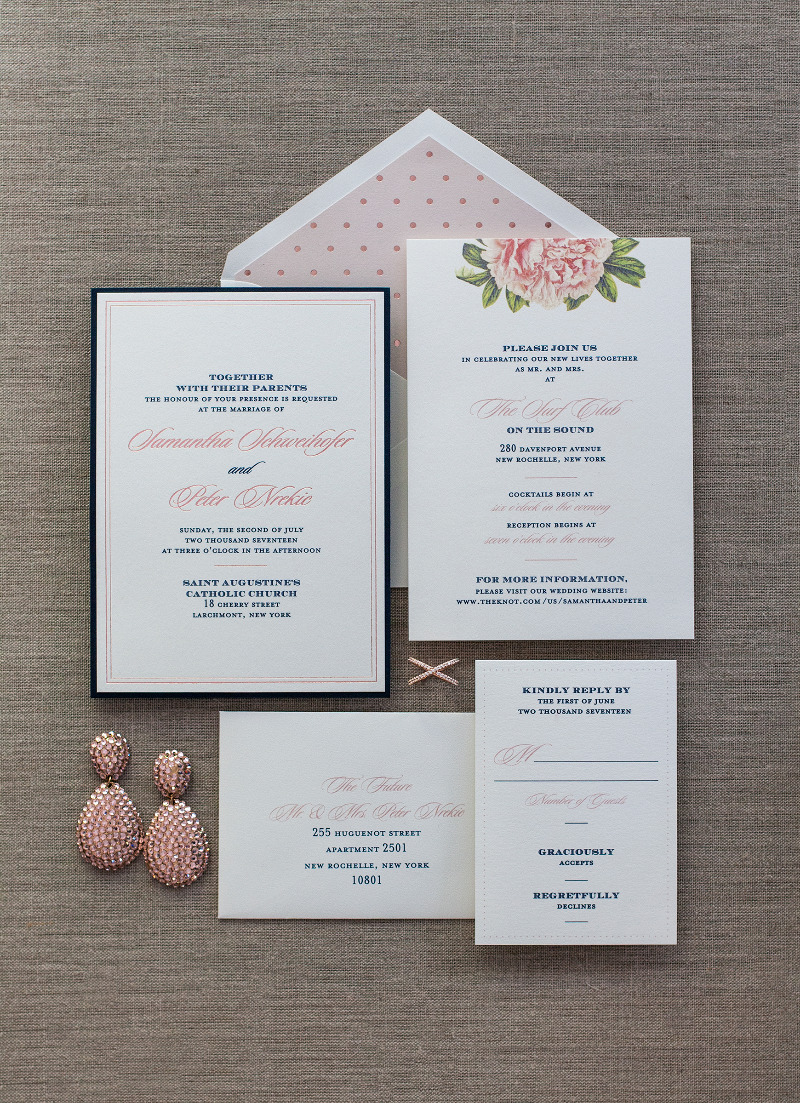 Rose Gold Foil combination with a peony + polka dots