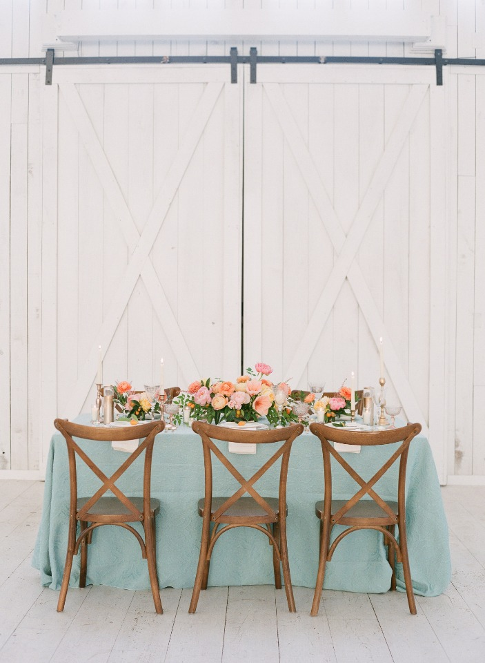 retro spring time wedding table decor