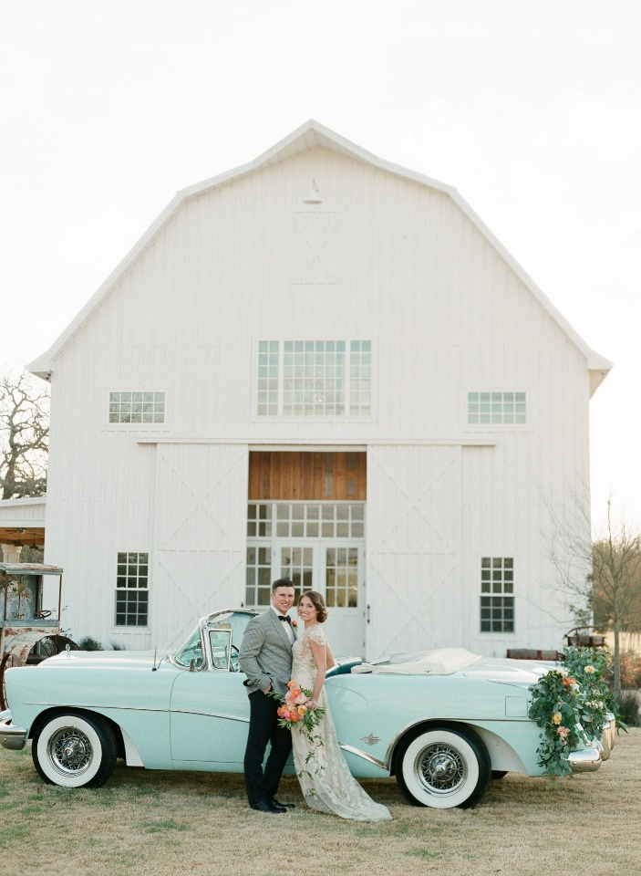 vintage wedding car at the White Sparrow Barn