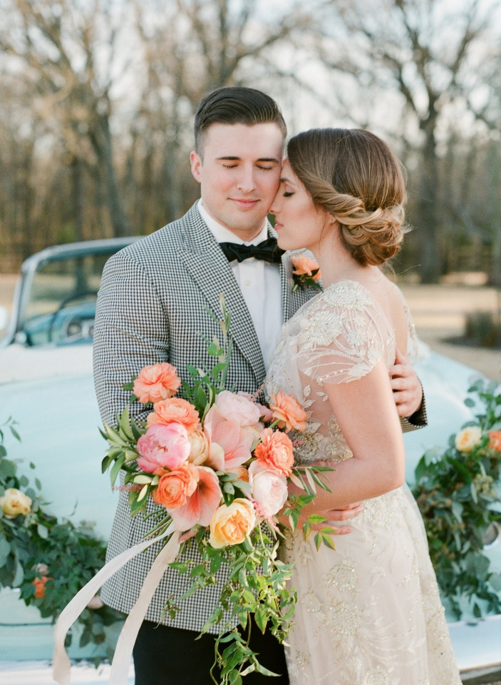 spring time bride and groom wedding style