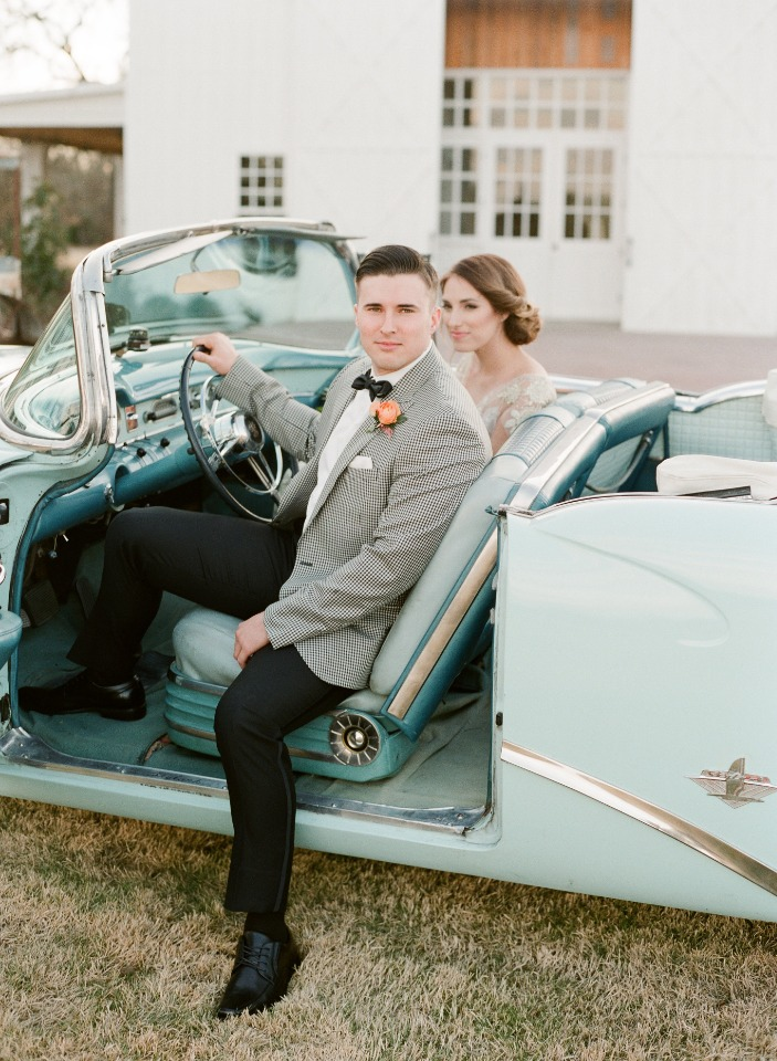 bride and groom and a 54 Buick