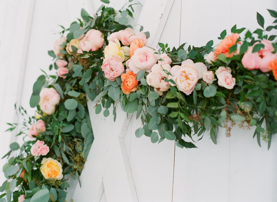floral garland wedding backdrop