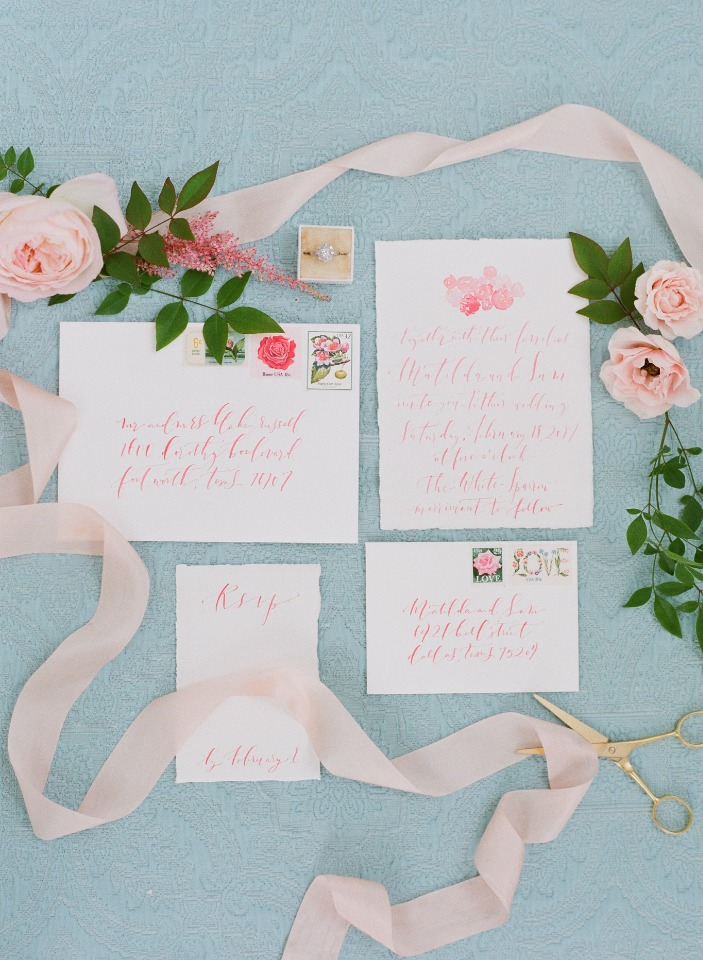 soft pink calligraphy wedding invitations
