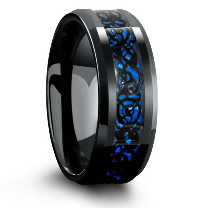 Mens Celtic Wedding Rings! This is a black tungsten carbide wedding ring with a celtic inlay running through the center of the ring