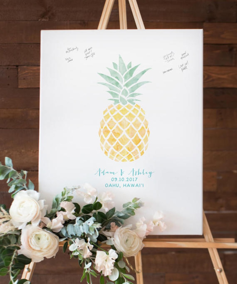 Miss Design Berry's watercolor pineapple guest book alternative captures the love and well wishes of your wedding guests in a fun,