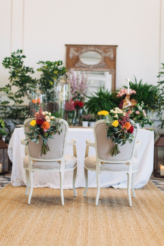 Ceremony chairs for the bride and groom