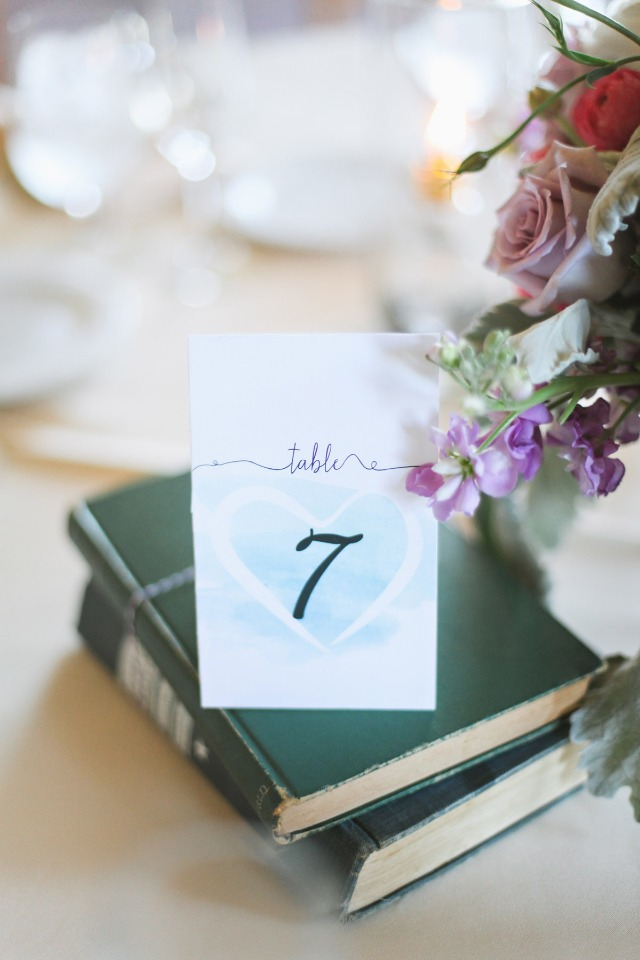 Watercolor Strokes free printable table number from Wedding Chicks