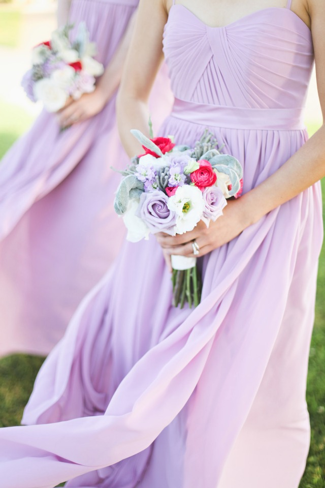 bridesmaids in soft lavender