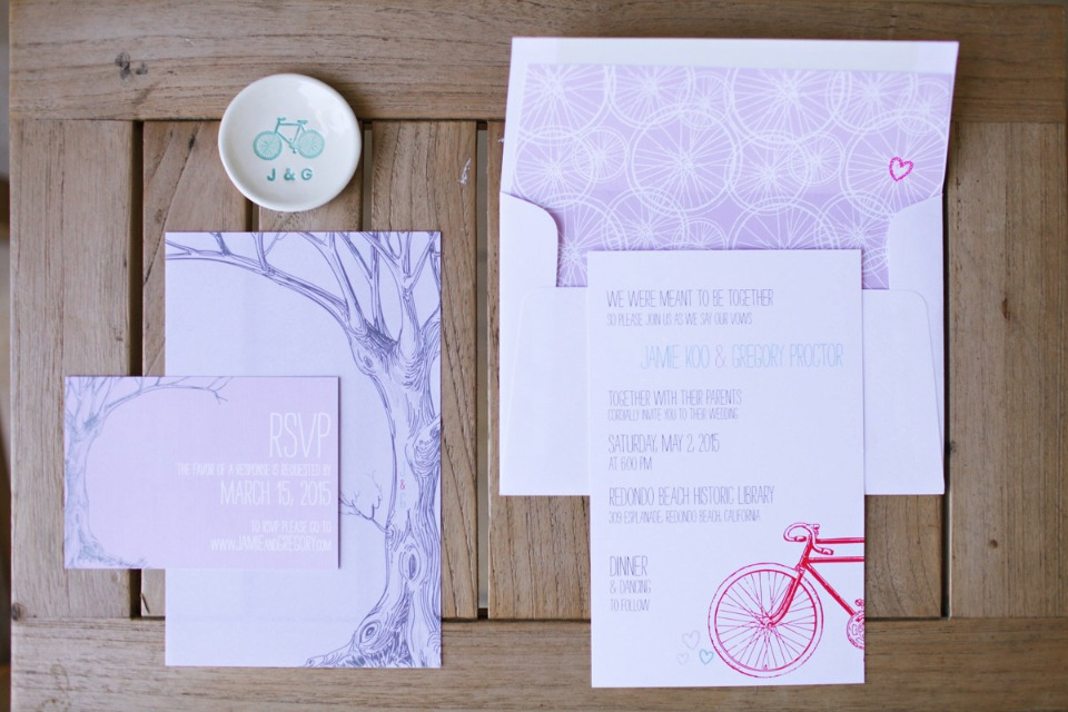 purple bicycle and tree wedding stationery