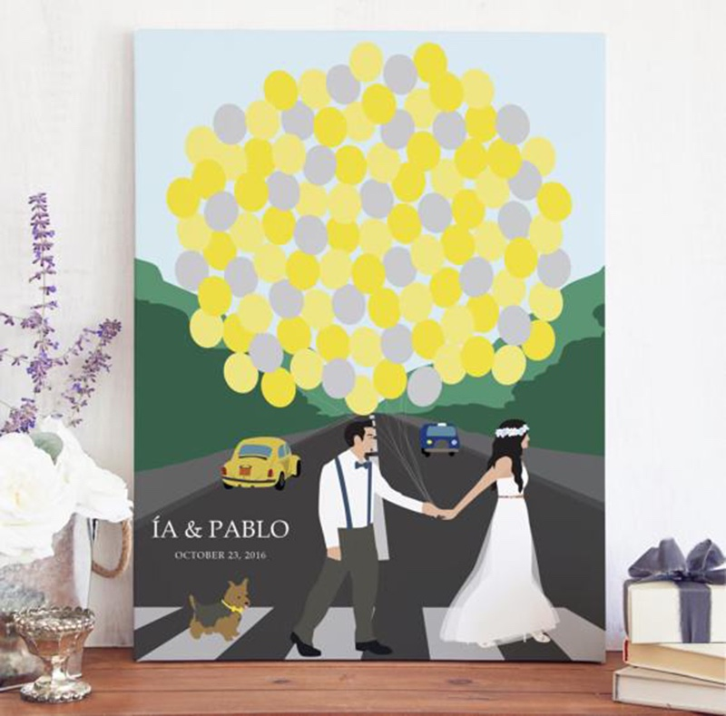 Miss Design Berry's Fun Abbey Road themed Wedding Guest Book with Portrait is the perfect way to add some Rock and Roll to your big