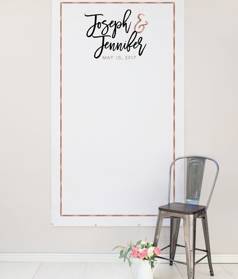 Miss Design Berry's personalized rose gold wedding photo backdrop comes in two sizes and is made of matte vinyl, and makes awesome