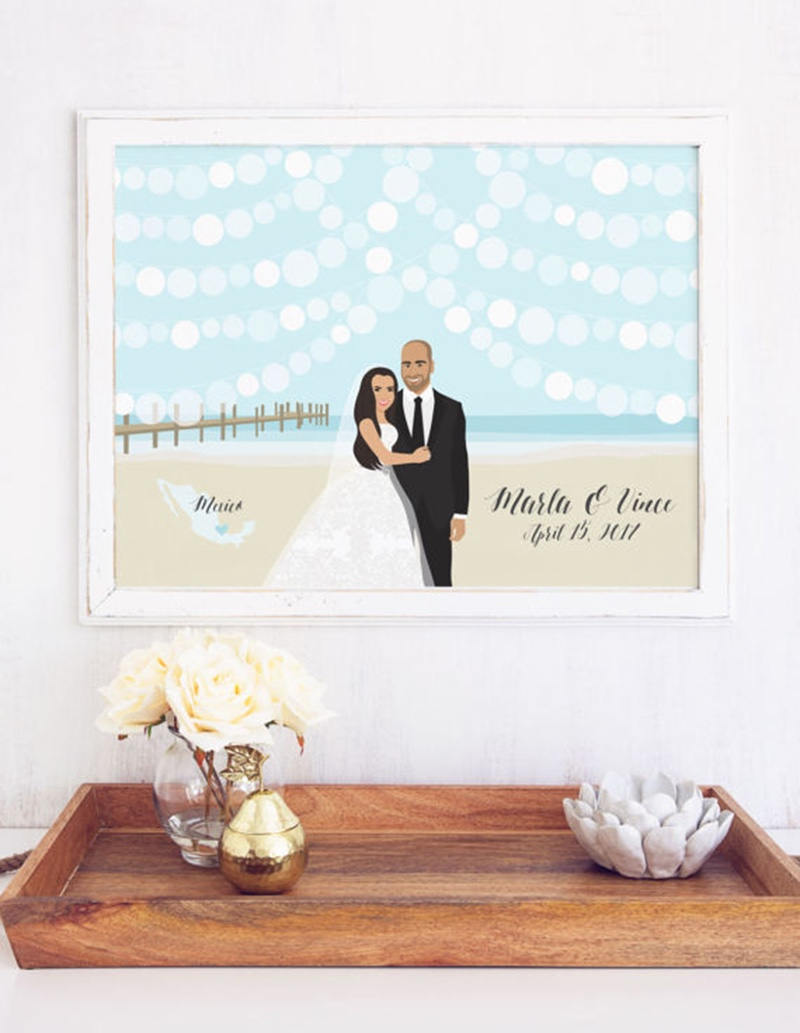 Miss Design Berry's Beach wedding Guest Book with Portrait is the perfect way to add a fun wedding portrait to the decor of your big