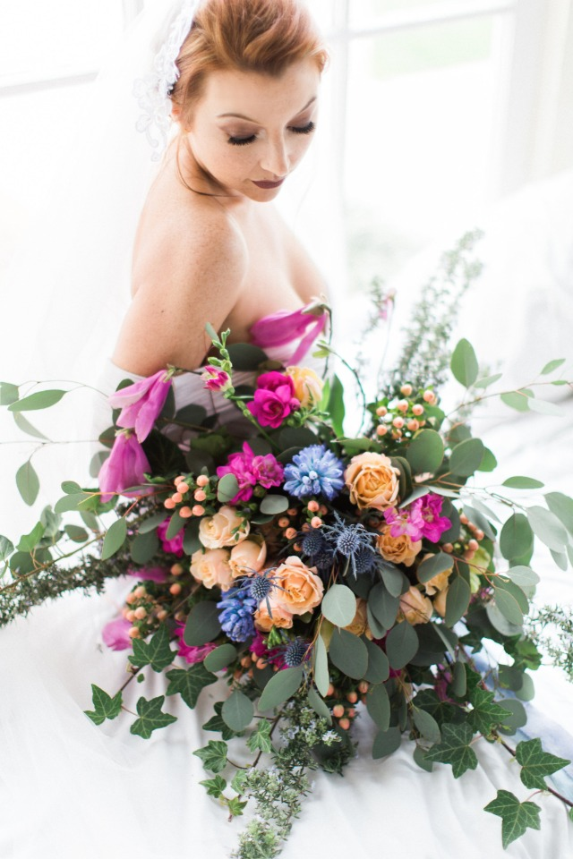 blue peach and pink wedding bouquet