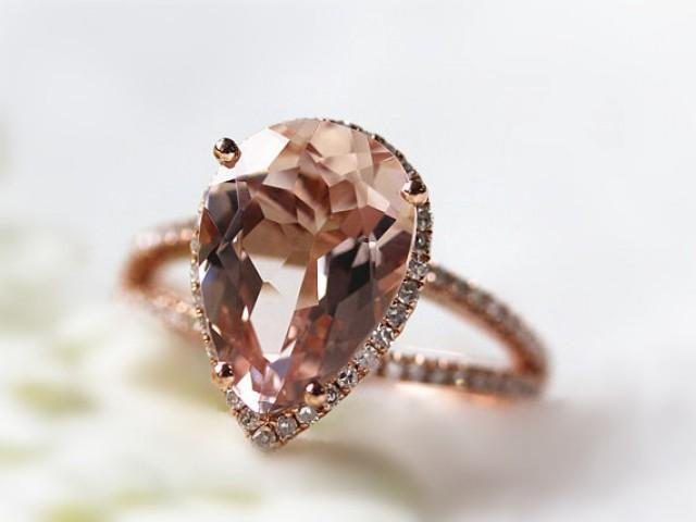 Pear Shaped Morganite Ring Diamond Engagement Ring.
