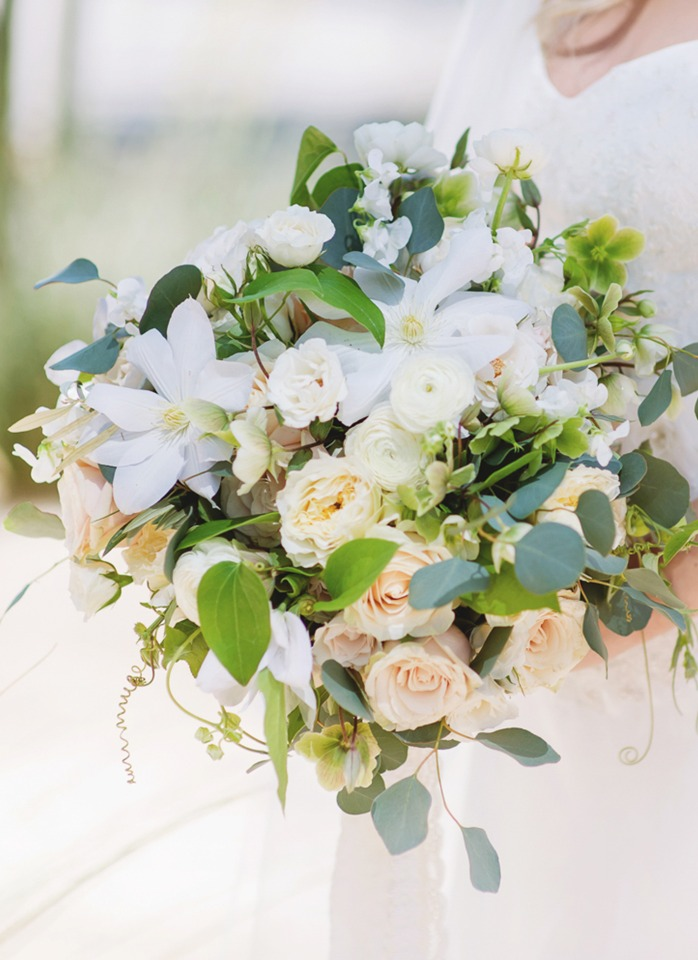 Green white and blush bouquet