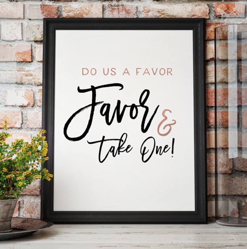 Miss Design Berry's Rose Gold wedding favors sign reads Please Do us a favor and take one and features a modern brush script.