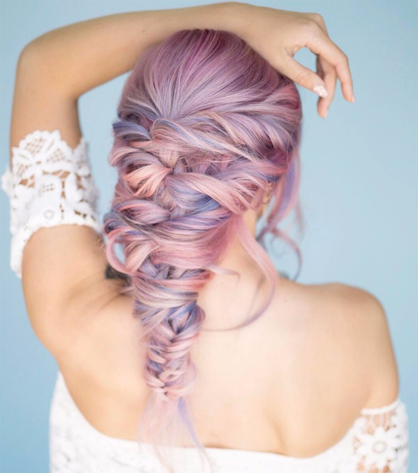 pink and purple wedding hair