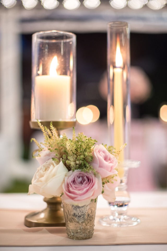 Candle lit table decor