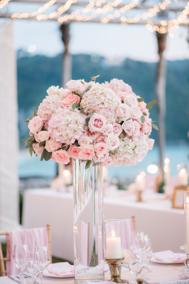 Oversized pink floral centerpiece