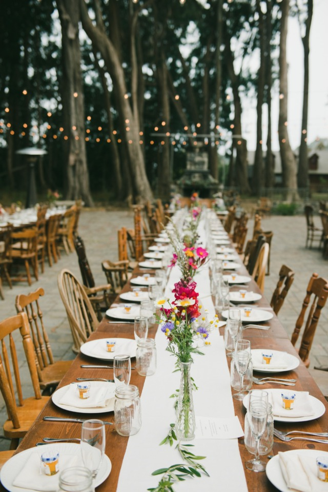 warm and friendly family style wedding seating