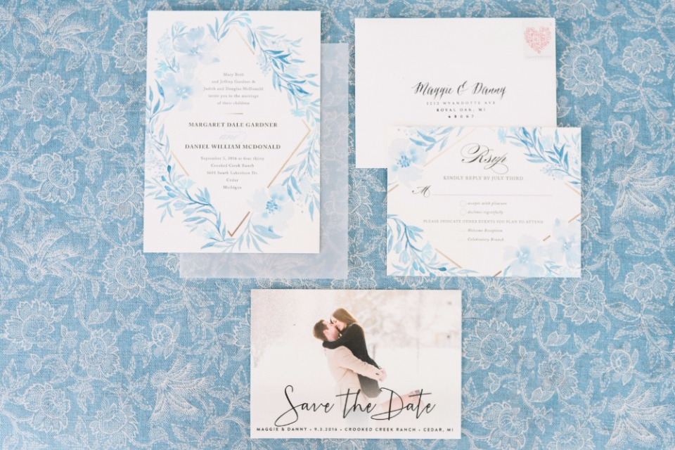 Poetic Blue Invitation Suite by Minted.
