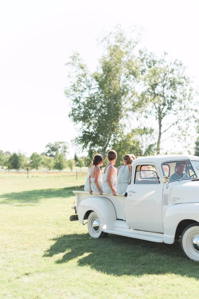 Get a classic truck for your bridesmaids and it's even the perfect color!