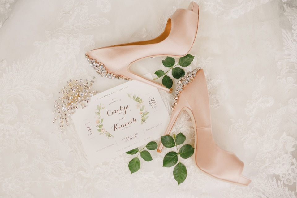 Peach wedding shoes and Longwood Estates Invitation Suite from Minted