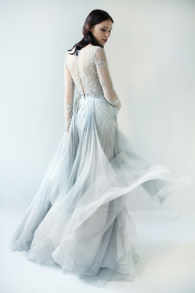 Beaded flowy blue wedding gown.